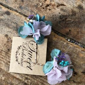 Orquillas en flor preservada en tonos malva