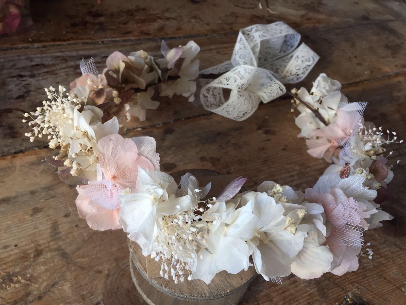 Corona de Flor preservada en tonos pastel